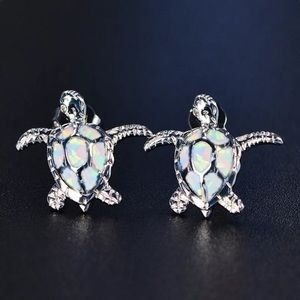 Jewelry - New! ❤️ White Fire Opal & Silver Turtle earrings